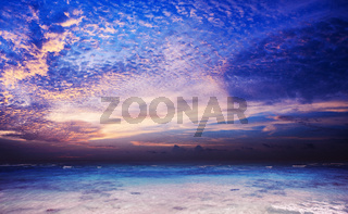 Panoramic composition of amazing sunset over the sea