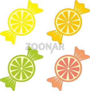 Candy lollipops citrus wedges
