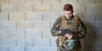 soldier using tablet computer