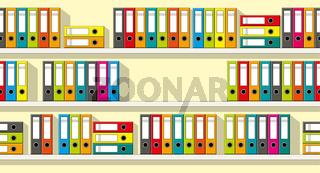 Illustration of colorful folders on shelves, seamless
