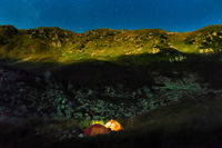 Two tents at night in mountains