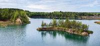 Basalt Pillars Geological Reserve and lake, Ukraine
