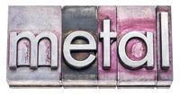 metal word in gritty vintage letterpress types