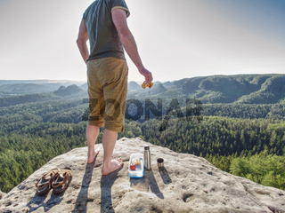 Picnic the wilderness. Ham toasts and apple in box for breakfast