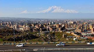 Legendary mount Ararat and Yerevan city.