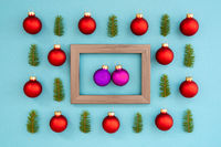 Frame With Two Purple Ball In Love, Textured Turquoise Background