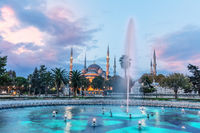 The Blue Mosque and the fountain in the Sultan Ahmet Park, Istanbul, Turkey