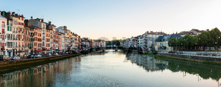 Panoramic view of the Nive River in Bayonne, France