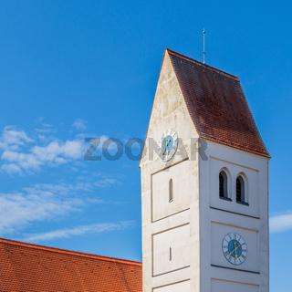 Municipal Germering, District Fürstenfeldbruck, Upper Bavaria, Germany: Details of Church Tower of Kirche St. Jakob