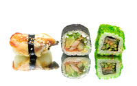 Japanese food - sushi and rolls on a white background