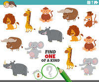 one of a kind task with wild animal characters