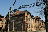 Auschwitz, Poland, Entry gate to the concentration camp with the phrase