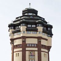 Water tower on Viersener Strasse, Moenchengladbach, North Rhine-Westphalia, Germany, Europe