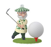 The 3D grandfather plays golf on a lawn