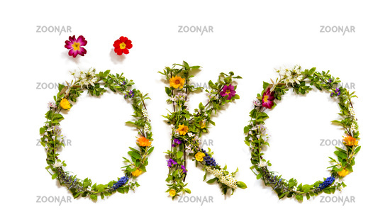 Flower And Blossom Letter Building Word Oeko Means Eco