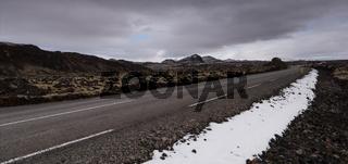 Rural empty  asphalt highway road in  Iceland Europe