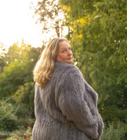 Model photoshoot in a rabbit fur jacket