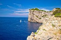 Kornati archipelago national park. Spectacular cliffs of Telascica bay above blue Adriatic sea