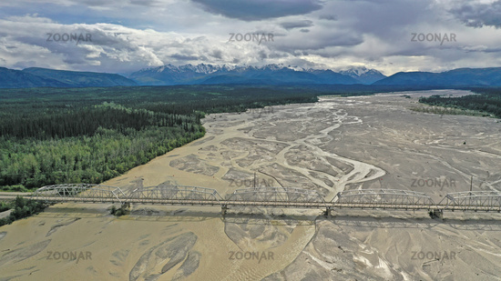 Aerial View over Big Delta River Junction and the Highway 2 Bridge Alaska