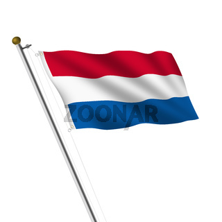 Netherlands Holland Flagpole 3d illustration on white with clipping path