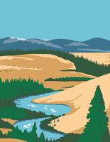 Kobuk Valley National Park in Arctic region of northwestern Alaska United States WPA Poster Art Color