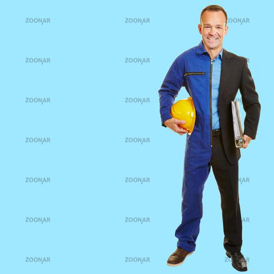 Mann zwischen Jobwechsel in passender Berufskleidung