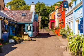 Colourful buildings around the coastal village of Dingle