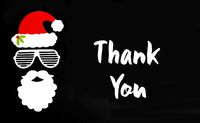 Santa Claus Paper Mask, Black Background, Text Thank You