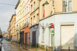 Typical empty street Brussels Belgium