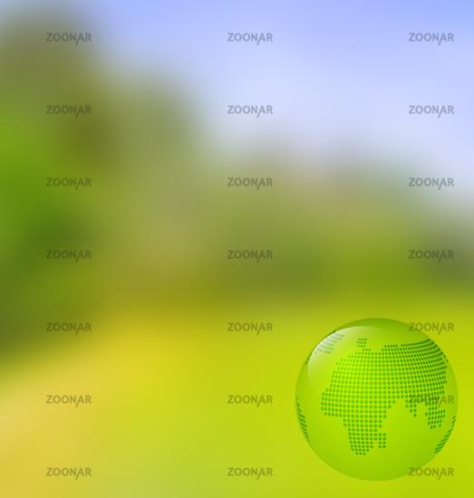 Blurred landscape background with globe