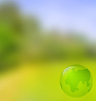 Blurred landscape background with globe