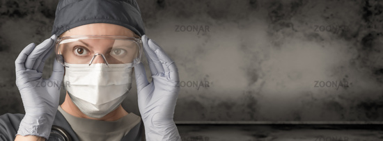 Female Doctor or Nurse Wearing Scrubs, Protective Face Mask and Goggles Banner.
