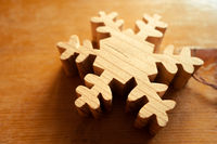 Wooden snowflake christmas decoration