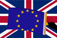 Brexit metaphor with european and Great Britain flags.