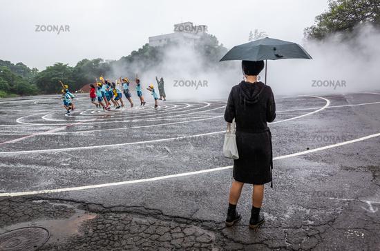 Taoyuan Land Art Festival in the raining day