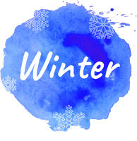 Winter Text With Blue Blot
