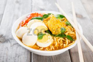 Fresh curry instant noodles soup