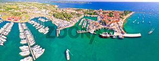 Novigrad Istarski historic Adriatic coastal town coast and marina aerial panoramic view