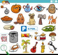 letter p words educational task for children