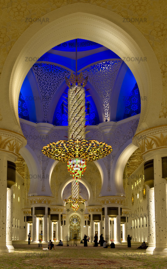 Abu Dhabi. United Arab Emirates. Interiors of the Sheikh Zayed Grand Mosque