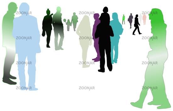 menschen silhouetten kontur pastell verlauf