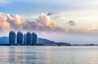 Day view of buildings on Phoenix island in Sanya, Hainan