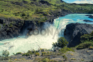 Waterfall in Torres del Paine in south American Andes