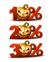 Ten, Twenty and thirty percent discount icon with Scary Jack O Lantern halloween pumpkin.