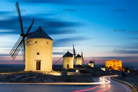 Windmills after sunset, Consuegra, Castile-La Manc