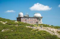 TATRANSKA LOMNICA, SLOVAKIA, AUGUST 2020 - View of the observatory on Skalnate Pleso lake, High Tatras, Slovakia