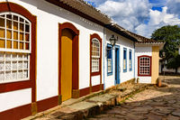Stone paved street in the historic city of Tiradentes