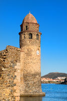 Collioure tower in harbor