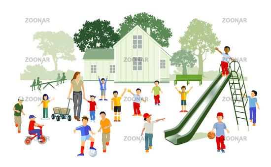 Children playing in kindergarten - vector illustration