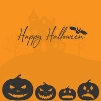 Happy Halloween greeting card or social media template with jack-o'-lantern